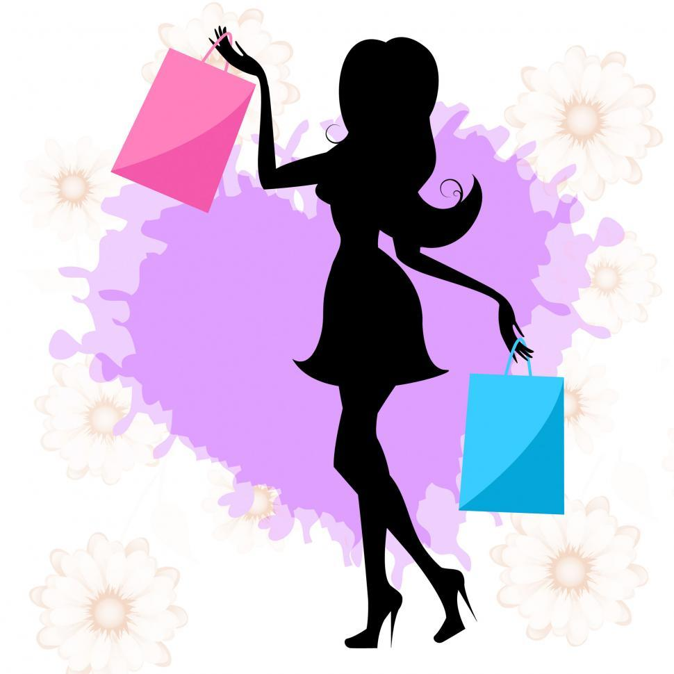 Download Free Stock HD Photo of Woman Shopping Means Retail Sales And Adult Online