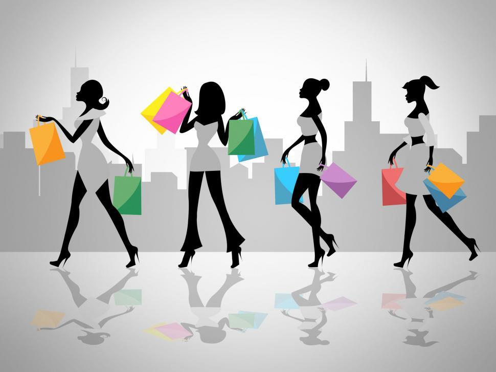 Download Free Stock HD Photo of Shopping Women Shows Retail Sales And Adult Online