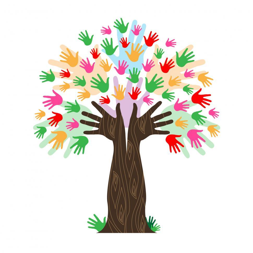 Download Free Stock HD Photo of Handprints Tree Means Hands Together And Artwork Online