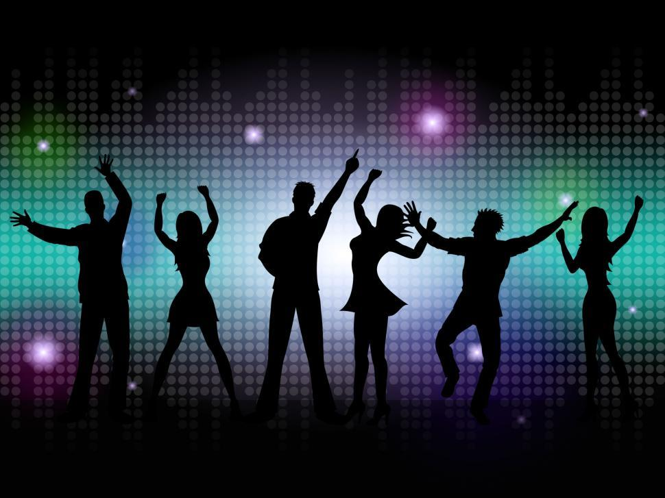 Download Free Stock HD Photo of People Silhouette Means Disco Music And Dance Online