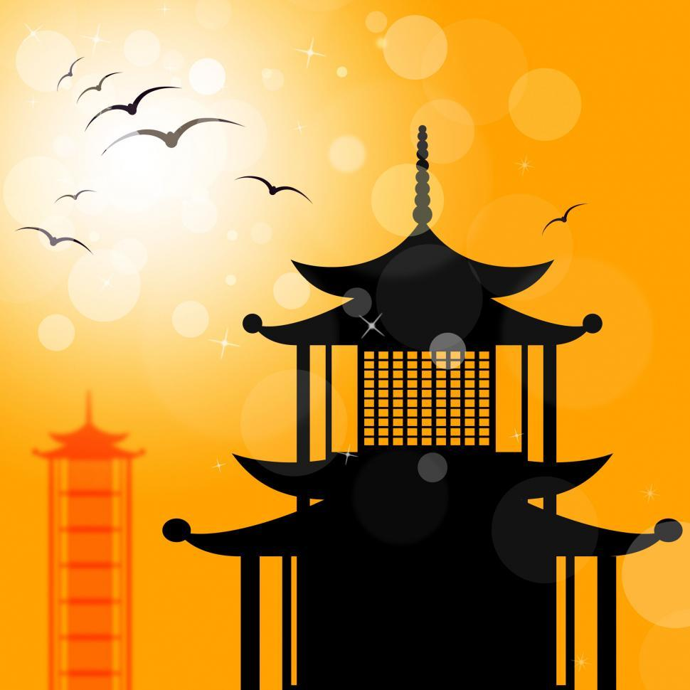 Download Free Stock HD Photo of Pagoda Silhouette Indicates Religion Asia And Oriental Online