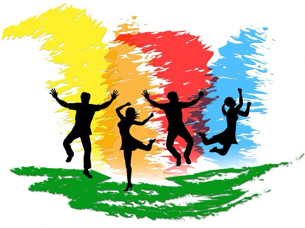 Download Free Stock HD Photo of Jumping People Indicates Colorful Active And Happiness Online