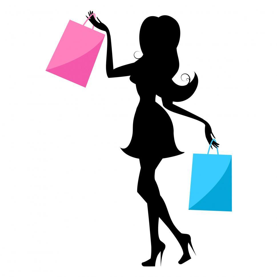 Download Free Stock HD Photo of Shopping Woman Indicates Retail Sales And Buying Online