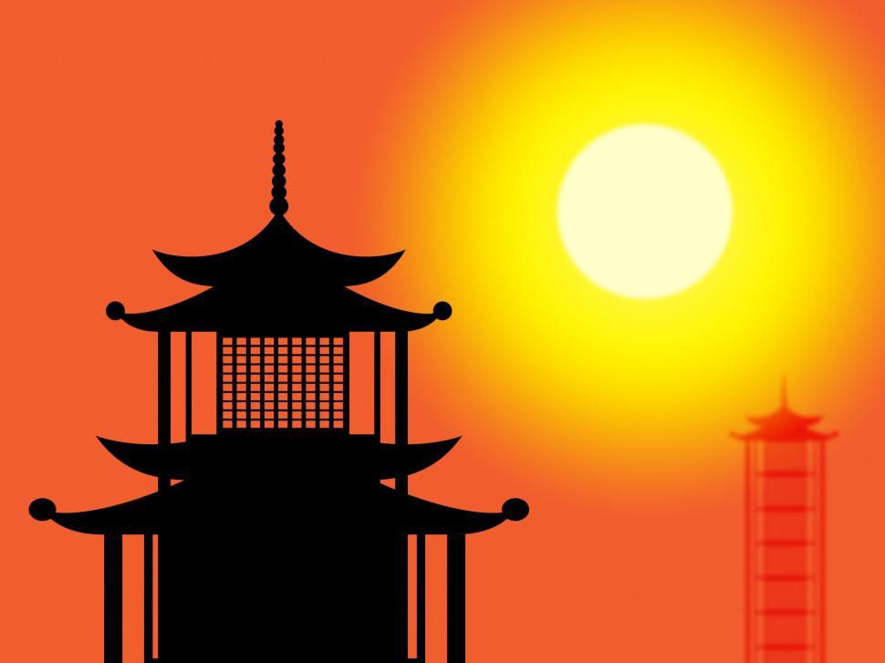 Download Free Stock HD Photo of Silhouette Pagoda Means Profile Worship And Asia Online