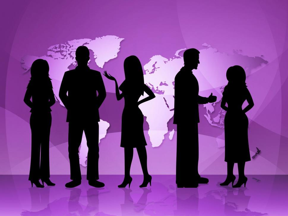 Download Free Stock HD Photo of Business People Represents World Map And Businesspeople Online
