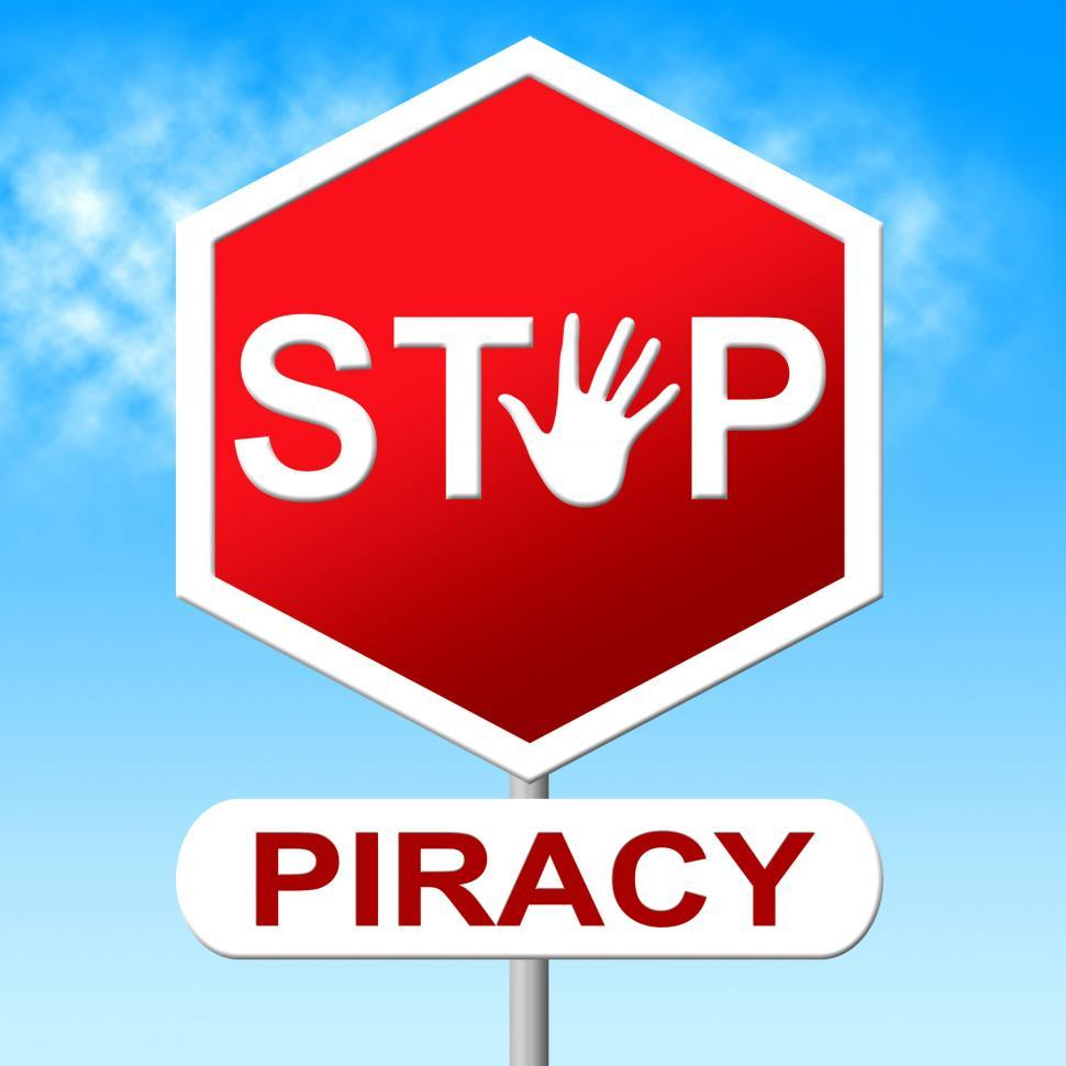 Download Free Stock HD Photo of Piracy Stop Indicates Copy Right And Control Online