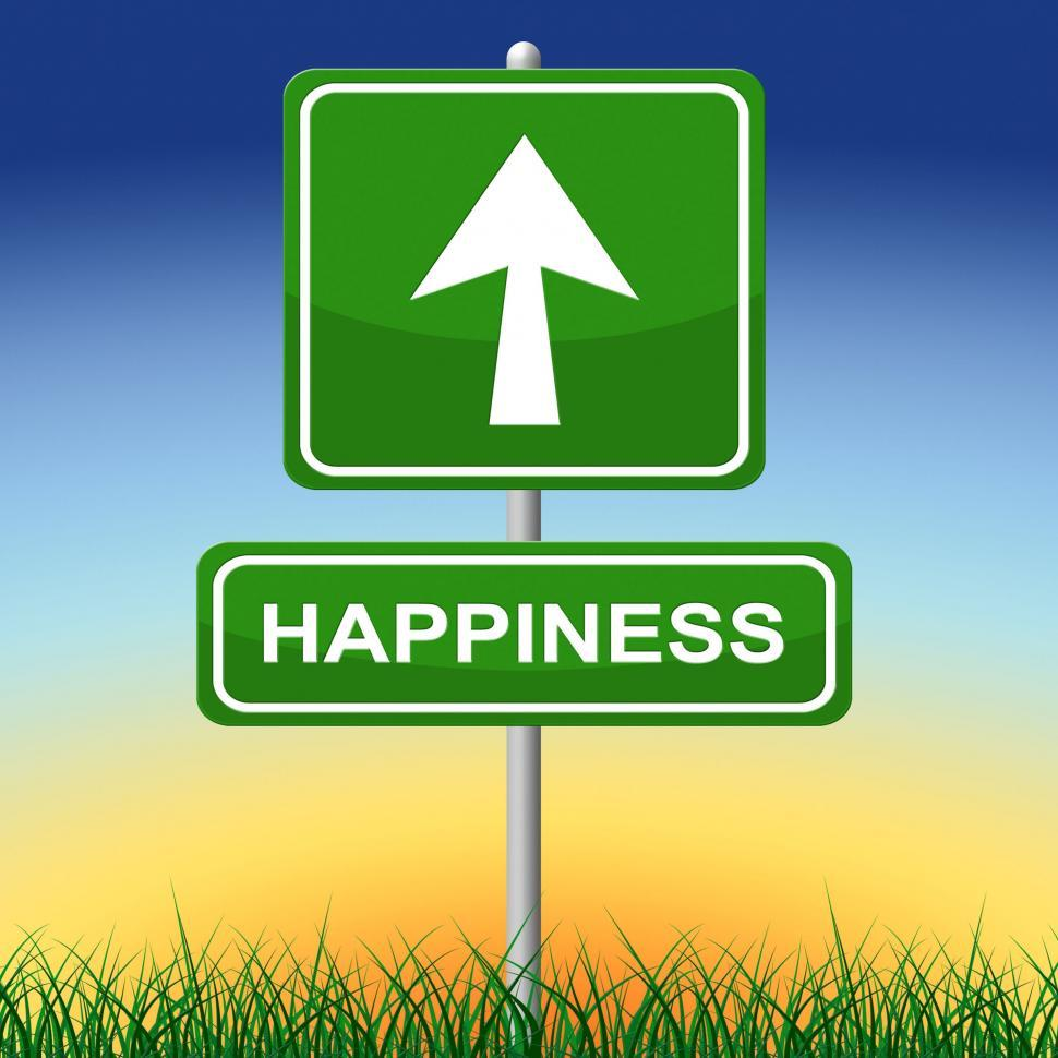 Download Free Stock HD Photo of Happiness Sign Shows Joy Placard And Arrow Online