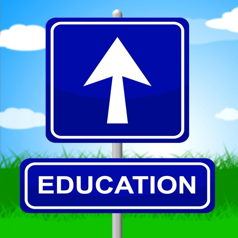 Download Free Stock HD Photo of Education Sign Shows Placard Signboard And Study Online