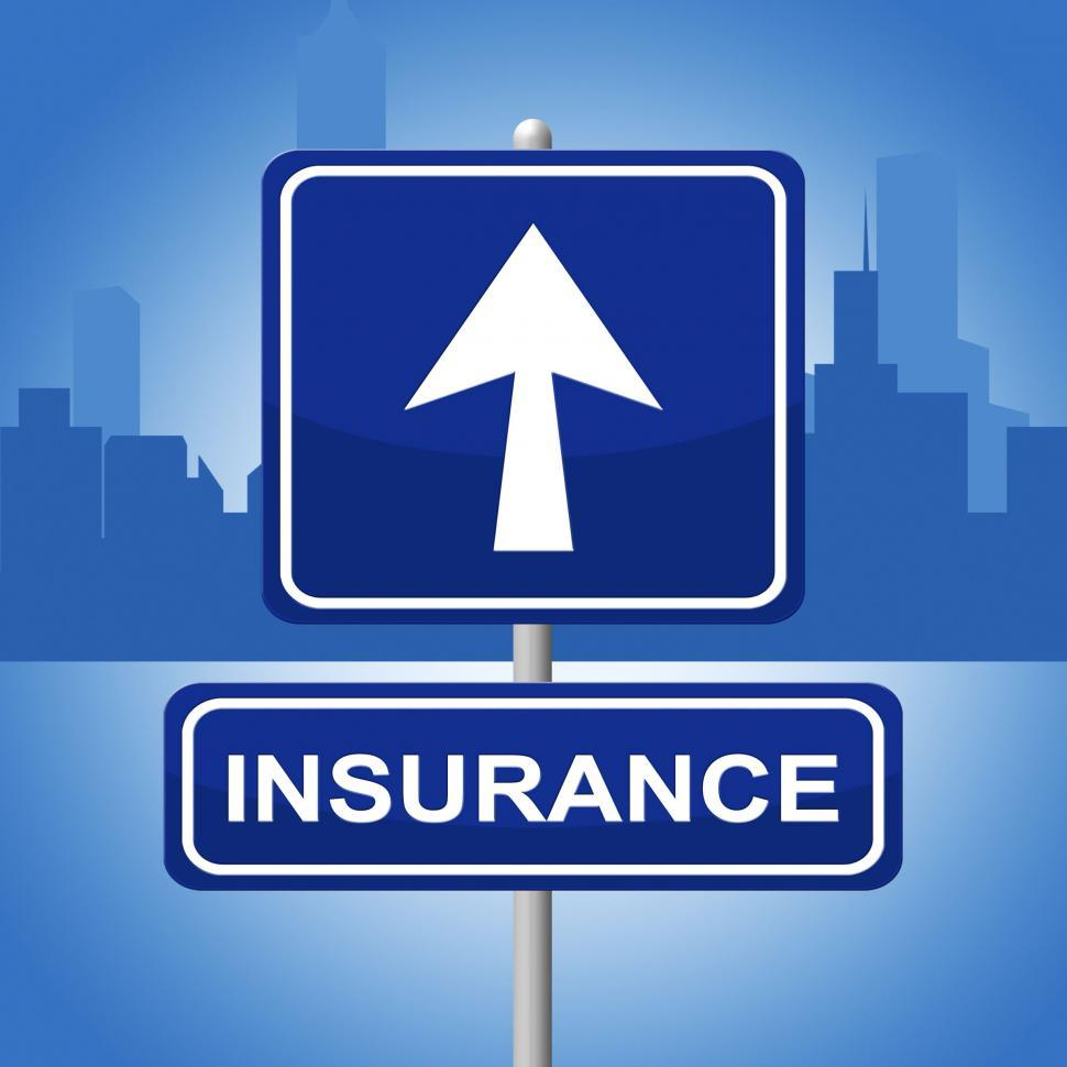 Download Free Stock HD Photo of Insurance Sign Means Indemnity Advertisement And Pointing Online