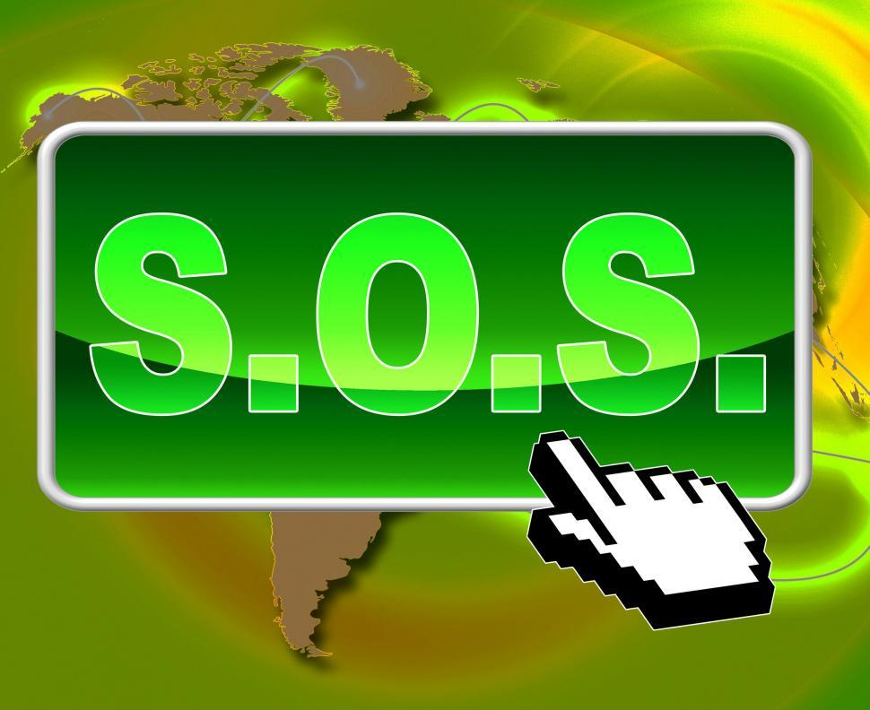 Download Free Stock HD Photo of Sos Button Indicates World Wide Web And Support Online