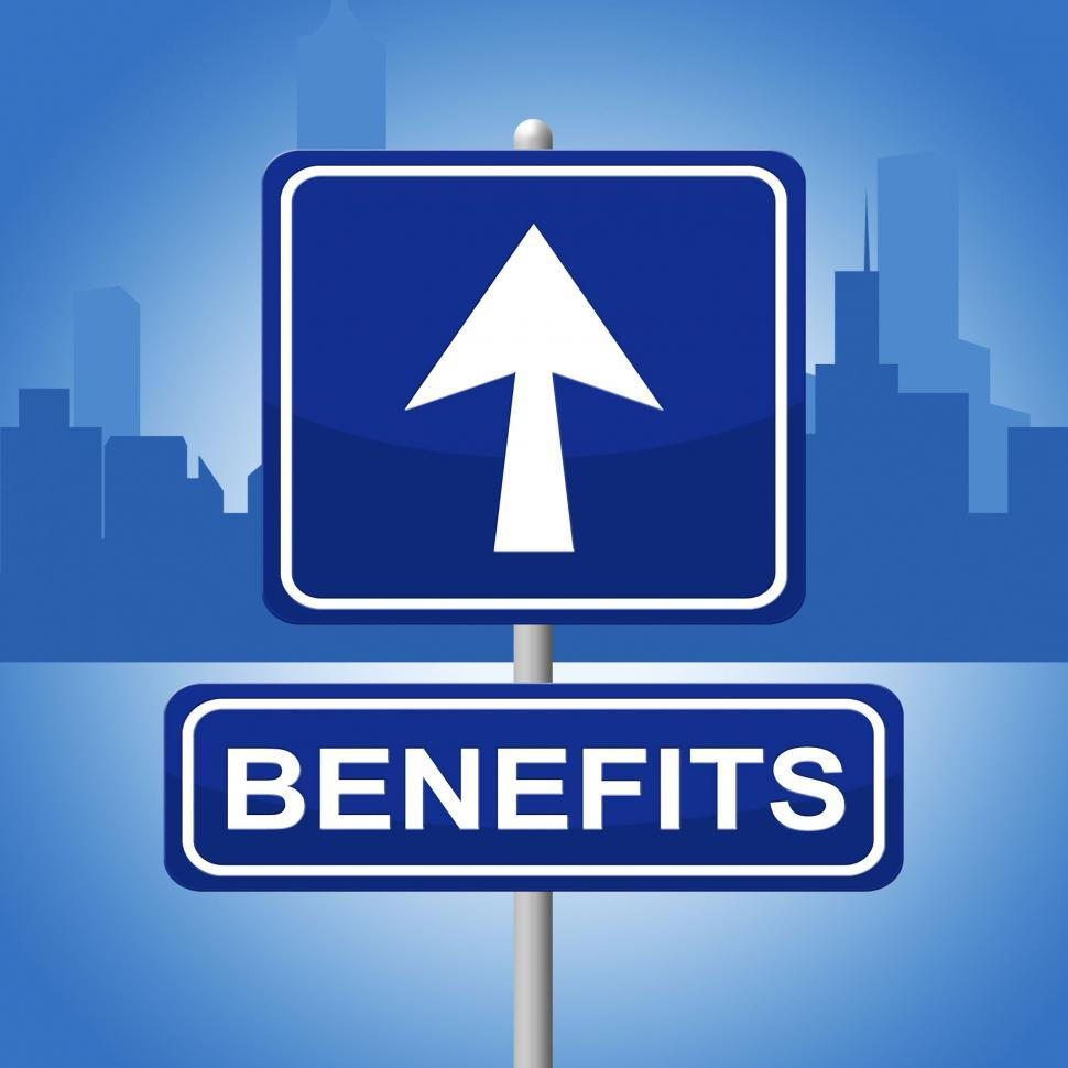 Download Free Stock HD Photo of Benefits Sign Shows Message Signboard And Bonus Online