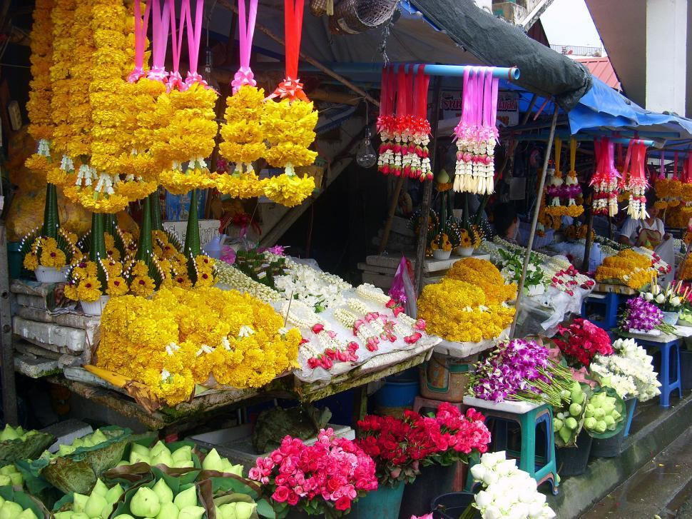 Download Free Stock HD Photo of Flower garlands stall Online