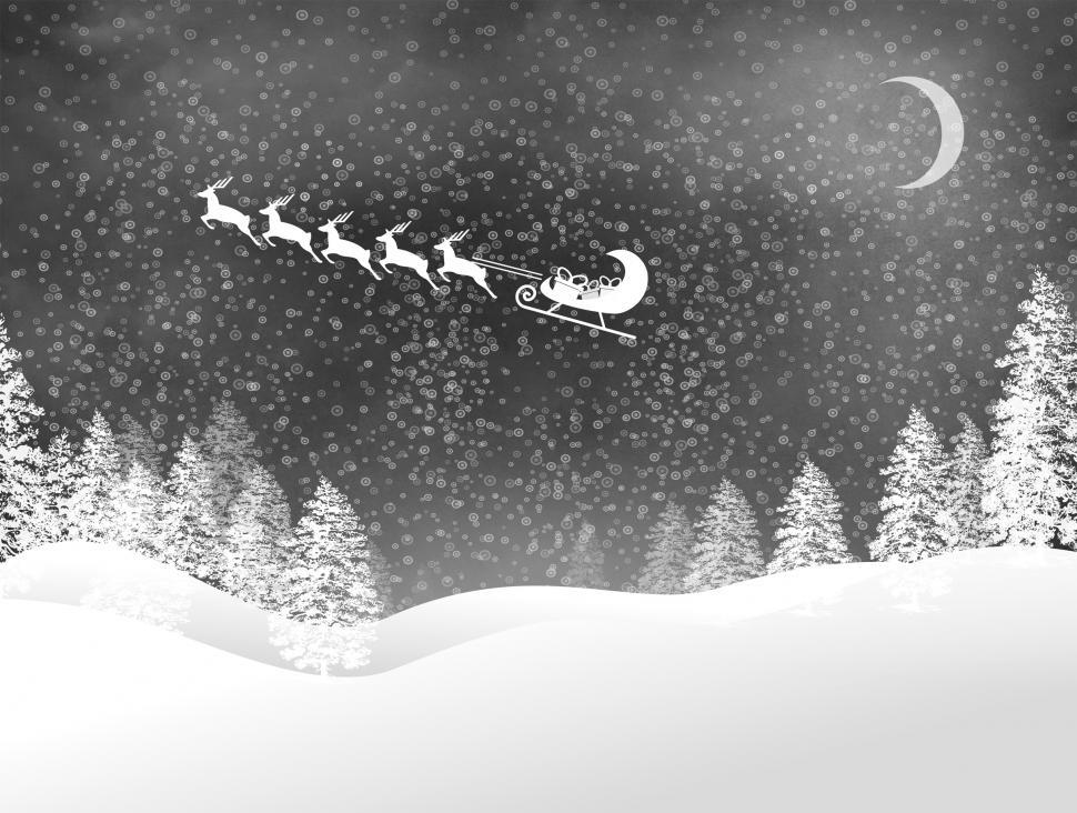 Download Free Stock HD Photo of Snowy Christmas night landscape with Santas sled and reindeer Online