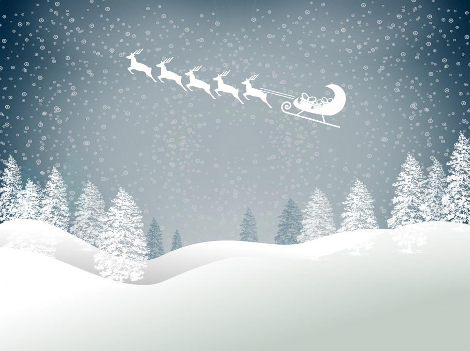 Download Free Stock HD Photo of Snowy Christmas landscape with Santas sled and reindeer Online
