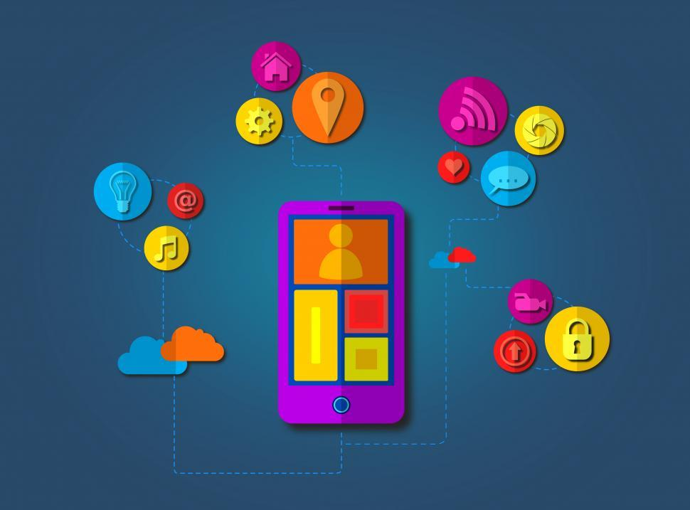 Download Free Stock HD Photo of The shift to the cloud - A smartphone connects via apps with the Online