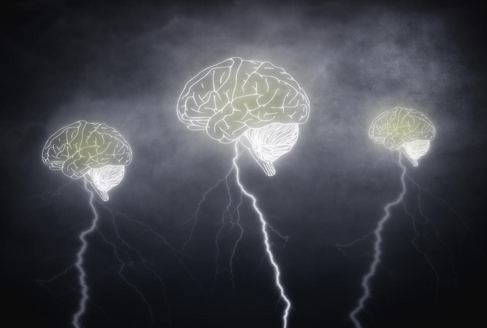 Download Free Stock HD Photo of Brainstorming - Three brains with thunderbolts on cloudy sky Online