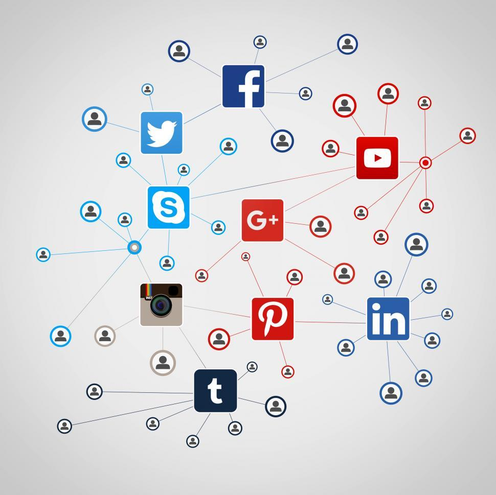 Download Free Stock HD Photo of Many people going social on the major social media networks Online