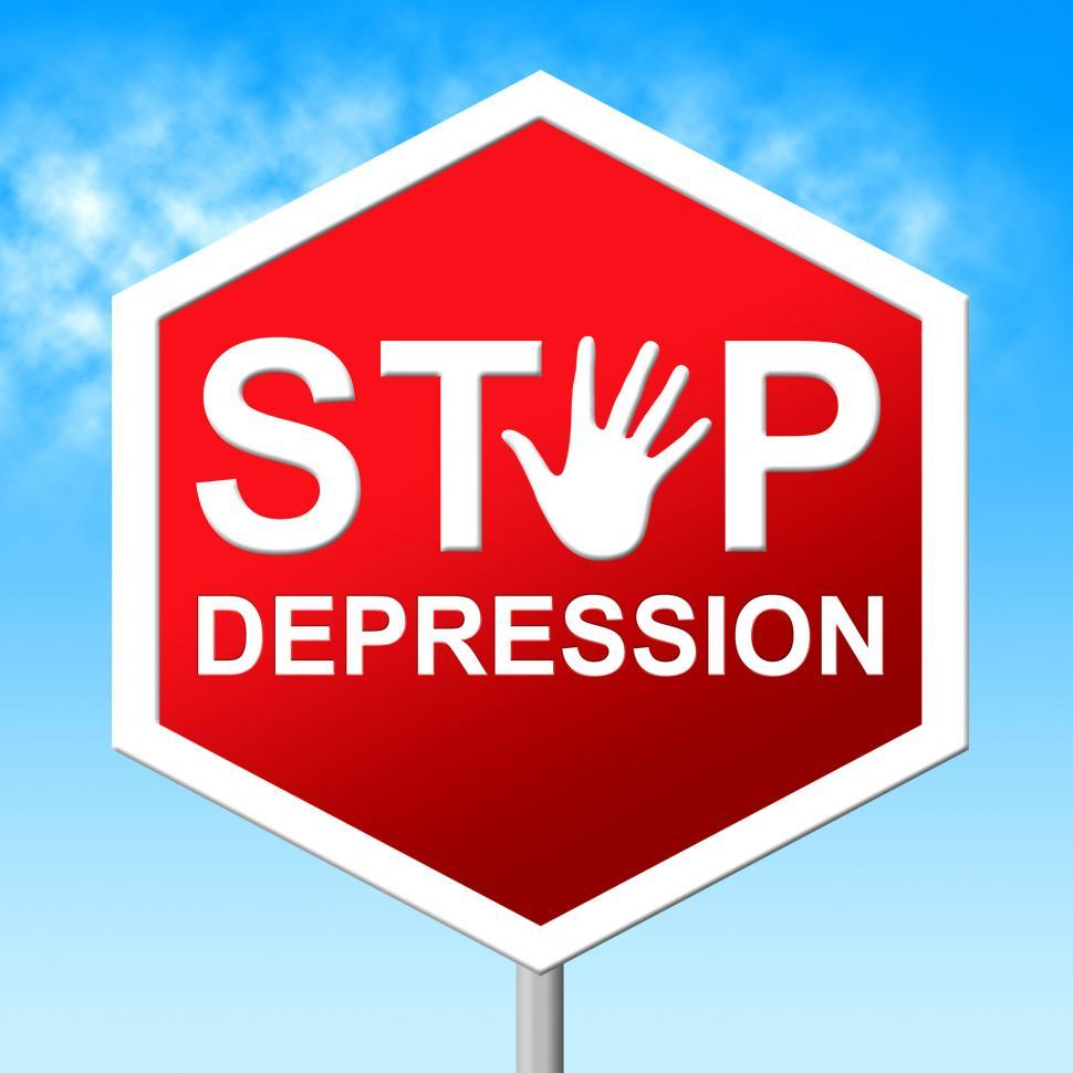 Download Free Stock HD Photo of Stop Depression Shows Lost Hope And Caution Online
