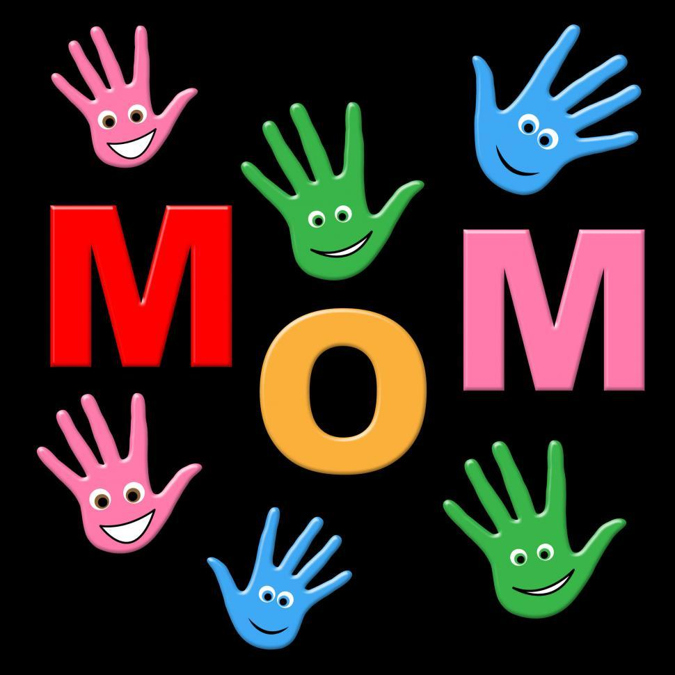 Download Free Stock HD Photo of Mom Handprints Shows Painted Mommy And Creativity Online