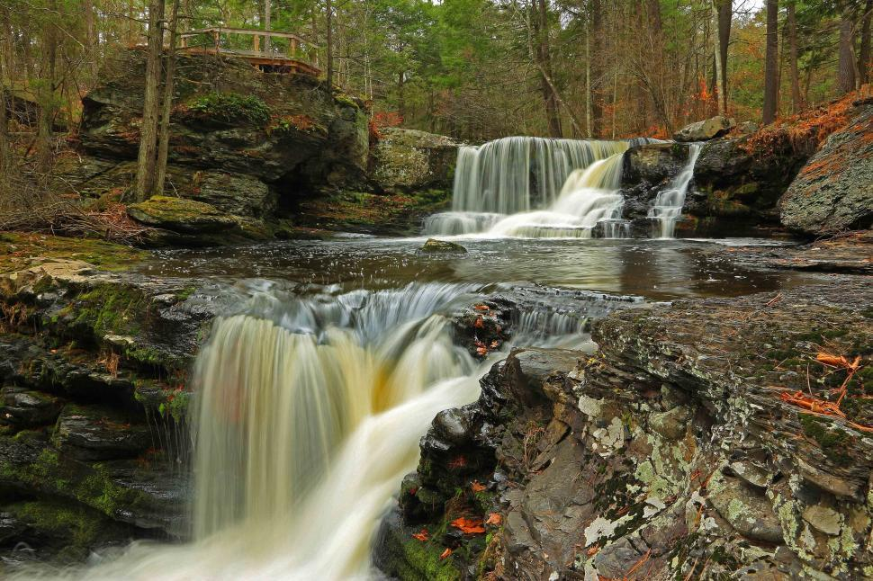 Download Free Stock HD Photo of Two levels - Factory Falls at George W. Childs Recreation Site. Dingmans Ferr Online