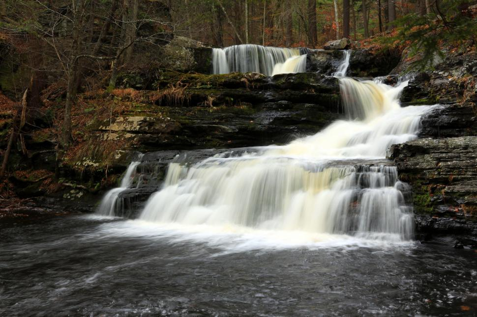 Free image of Factory Falls - as viewed from the bottom of the falls - is one of three main waterfalls at George W. Childs Recreation Site in Dingmans Ferry, PA, within the Delaware water Gap National Recreation .