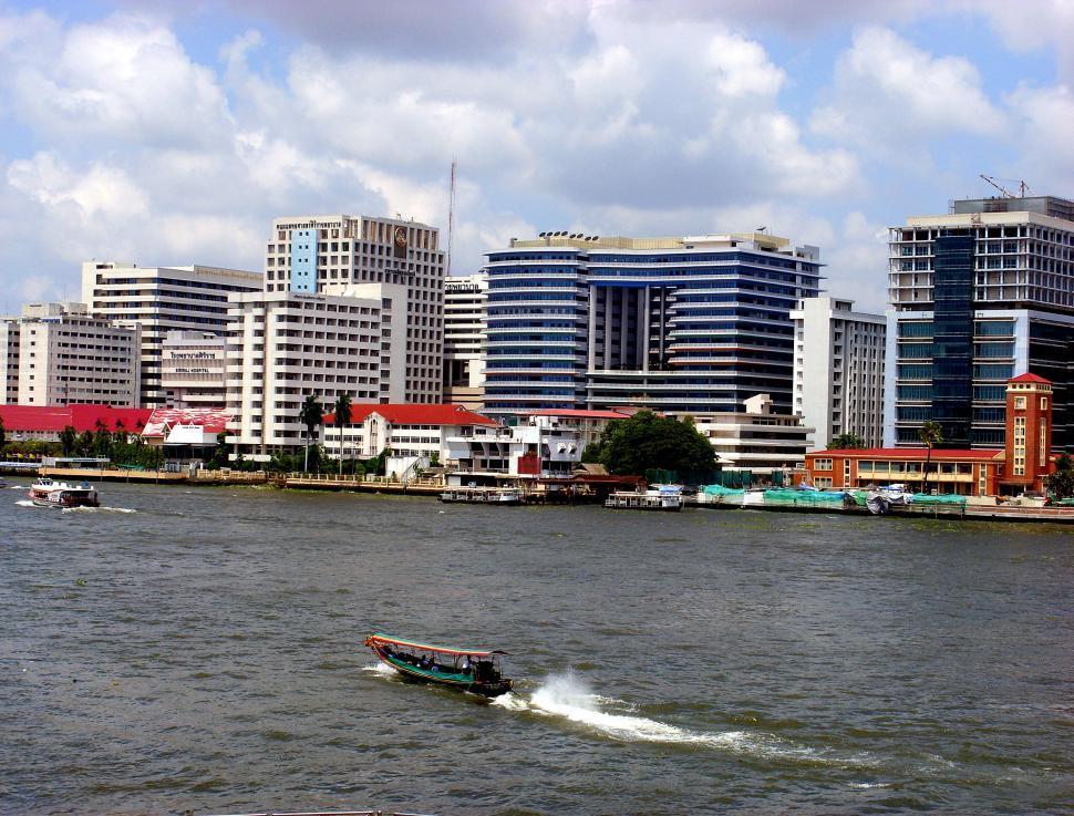 Download Free Stock HD Photo of Sirirat Hospital and Chao Phraya River in Bangkok Online
