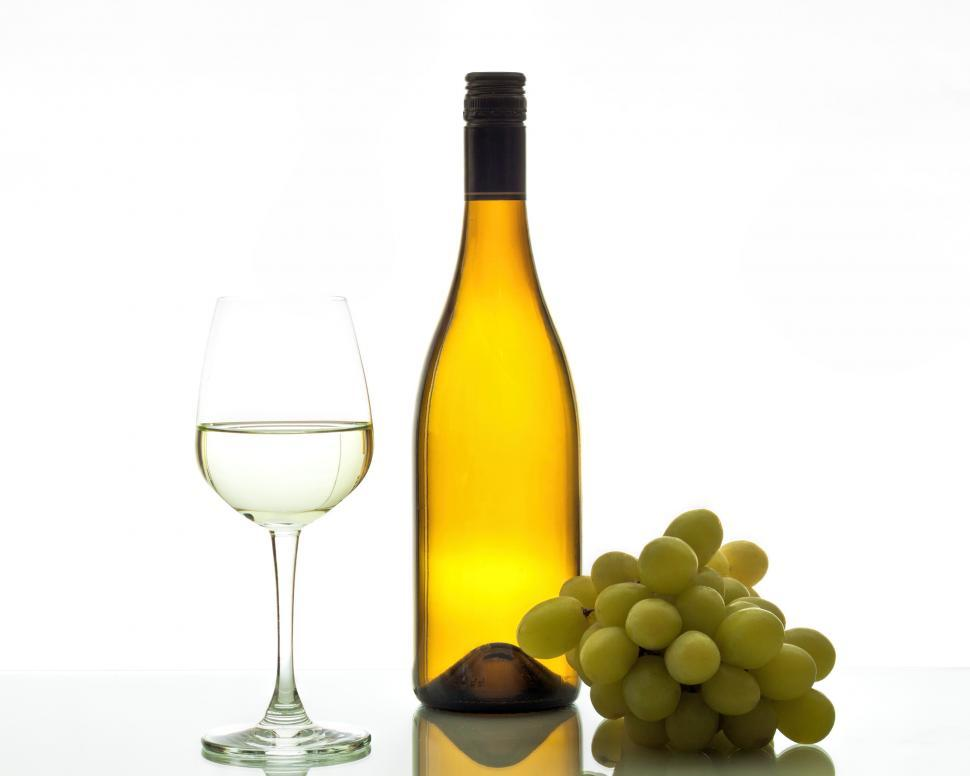 Download Free Stock HD Photo of Wine with glass bottle and grapes Online