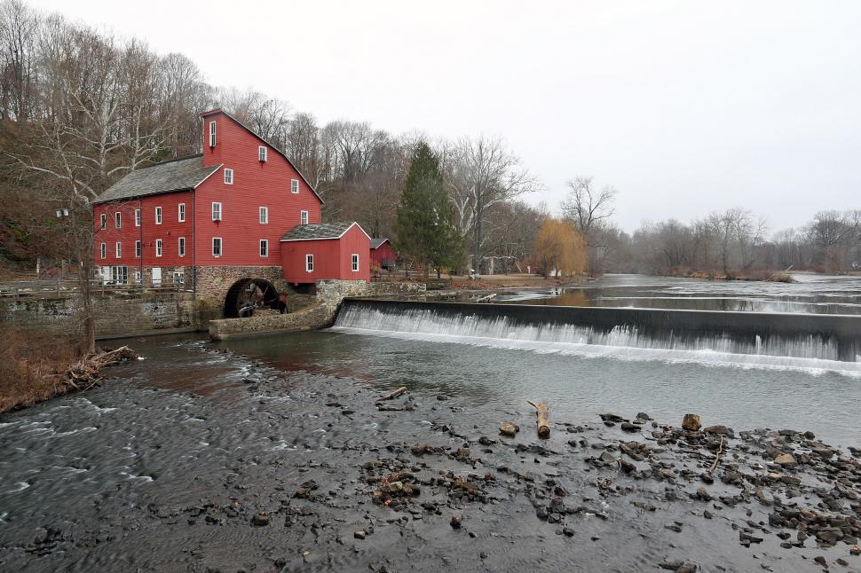 Download Free Stock HD Photo of Red Mill from the Bridge Online