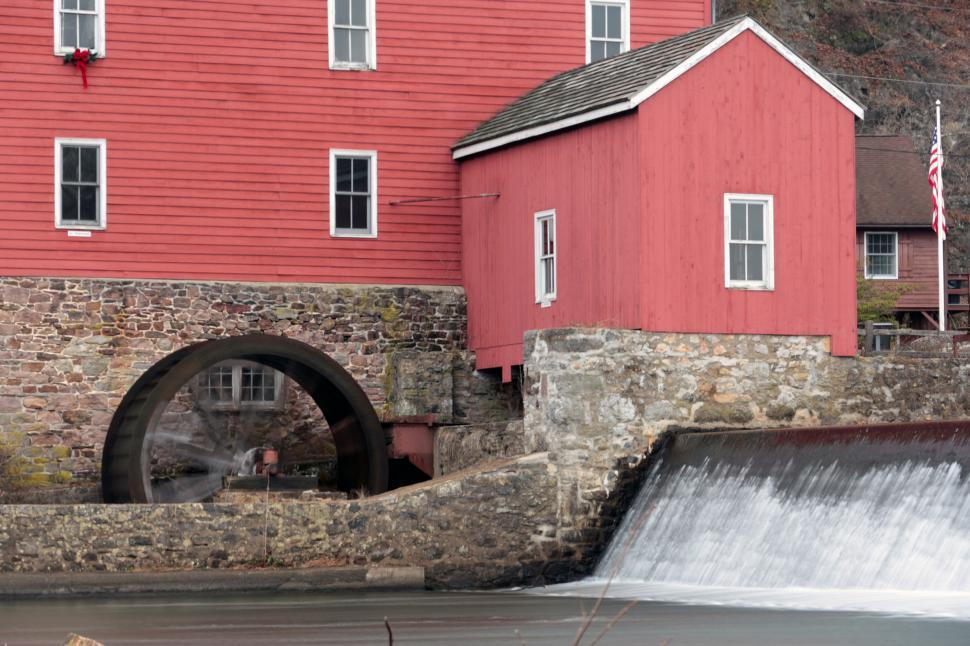 Download Free Stock HD Photo of Red Mill Water Wheel  Online