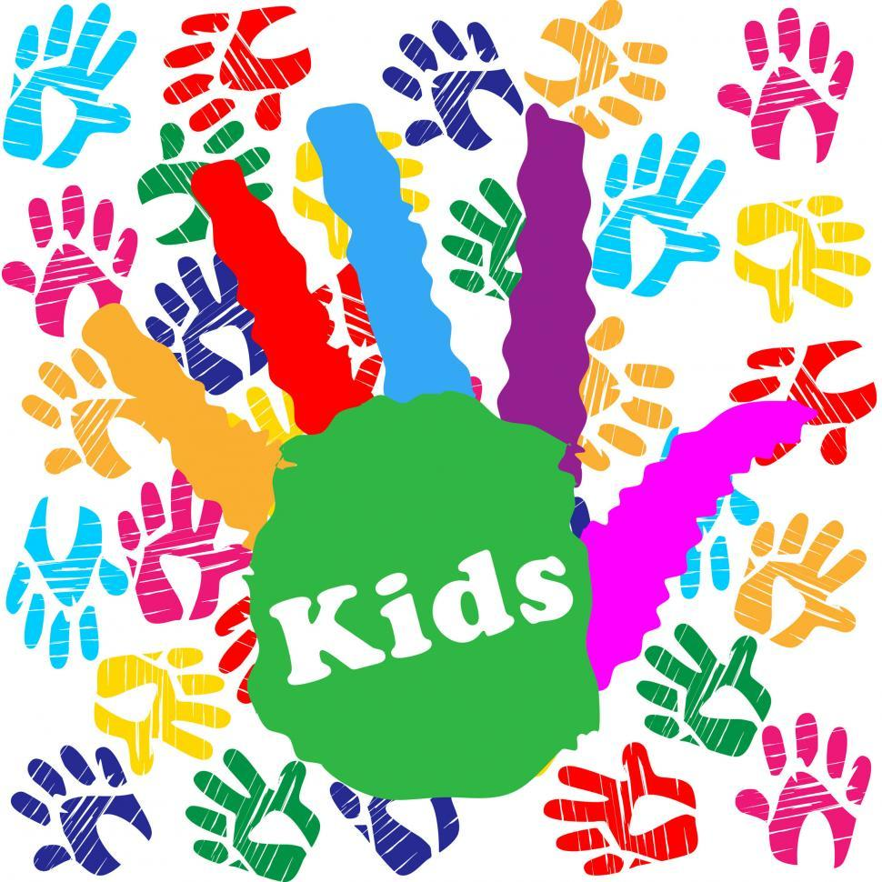 Download Free Stock HD Photo of Kids Handprint Indicates Colourful Children And Human Online