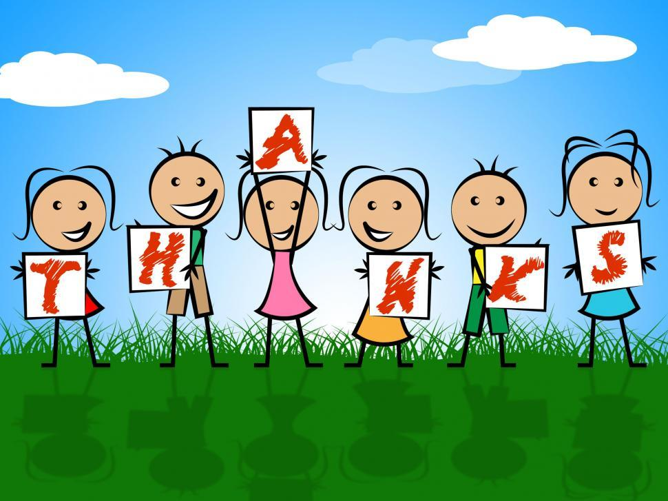 Download Free Stock HD Photo of Kids Thanks Indicates Child Gratefulness And Appreciate Online