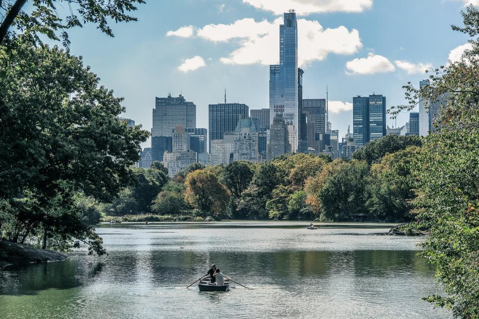 Download Free Stock HD Photo of Rowboat on the lake in Central Park Online