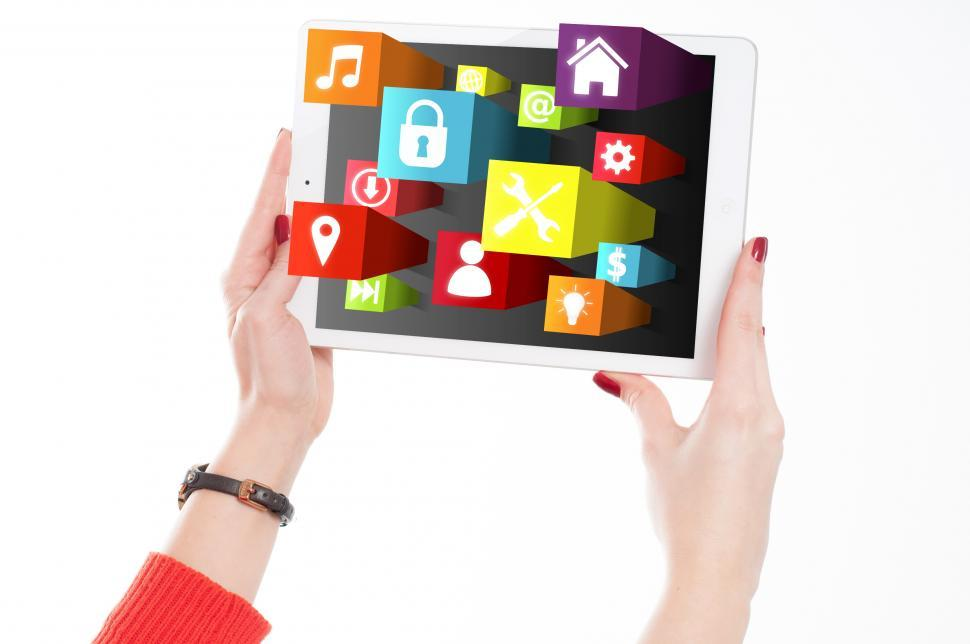 Download Free Stock HD Photo of Woman Holding Tablet with App Icons Online