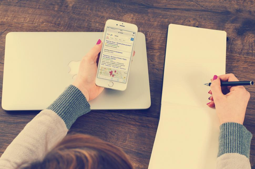 Download Free Stock HD Photo of Take notes from the phone Online