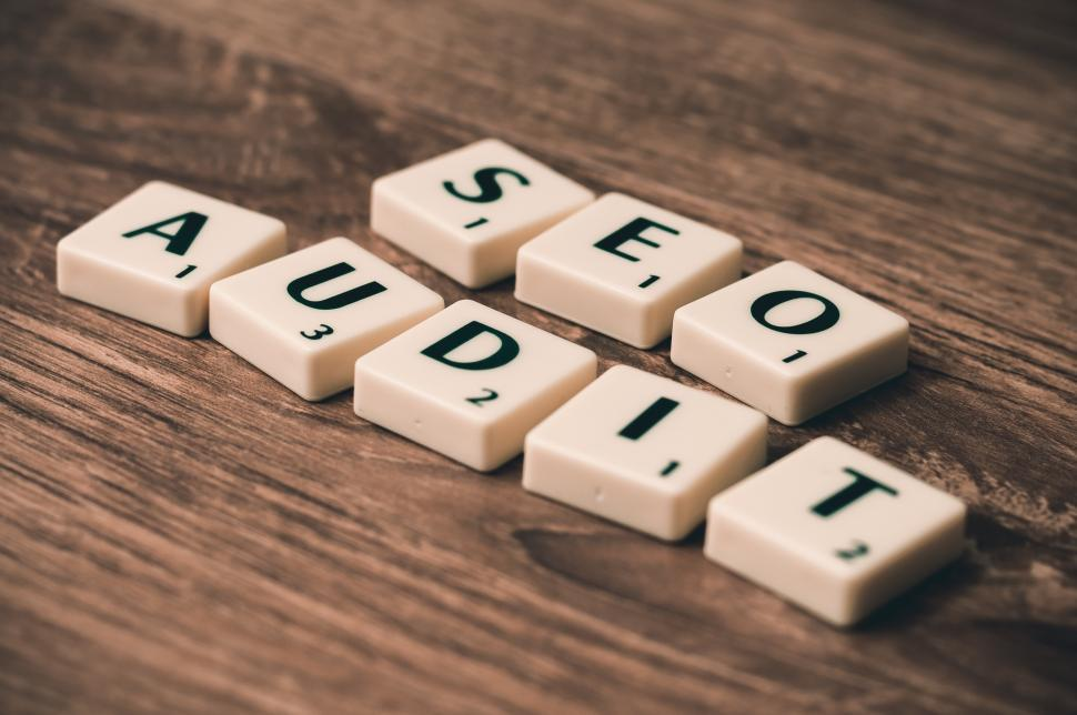 Download Free Stock HD Photo of SEO AUDIT spelled out Online