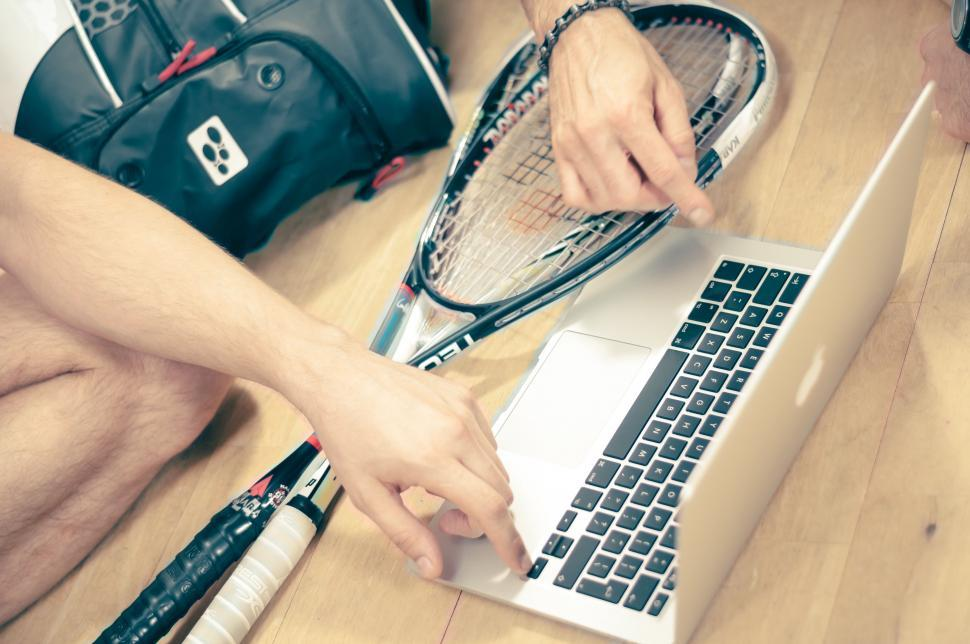 Download Free Stock HD Photo of Relaxing at the squash court Online
