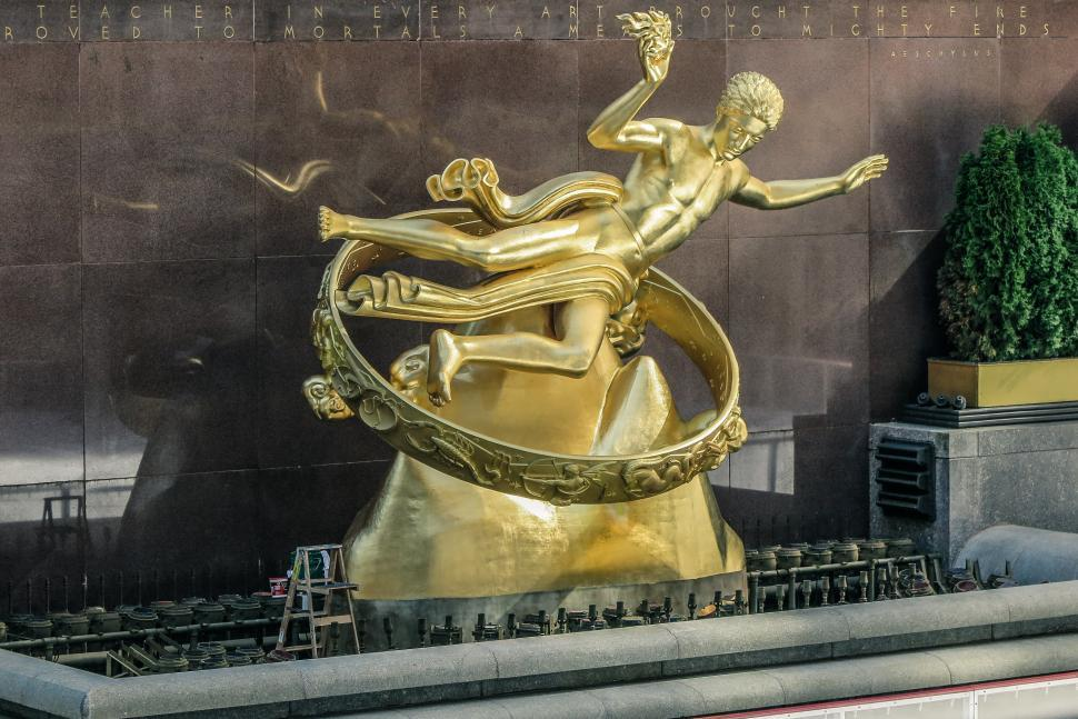 Download Free Stock HD Photo of Gold Statue at Rockefeller Center Online