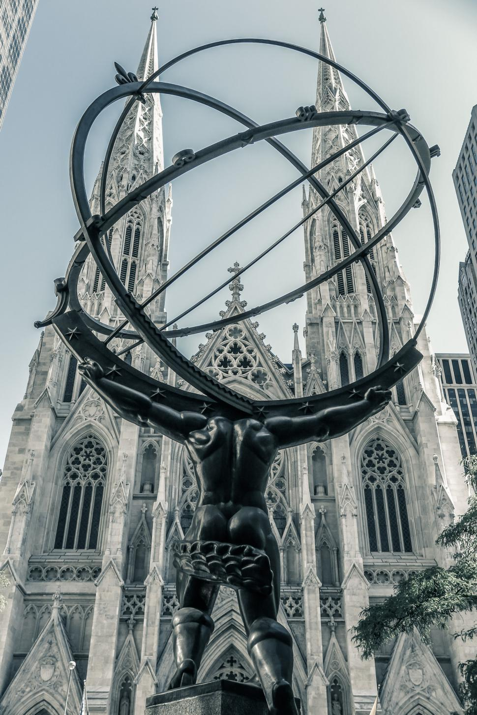 Download Free Stock HD Photo of Atlas faces St. Patrick s Cathedral Online