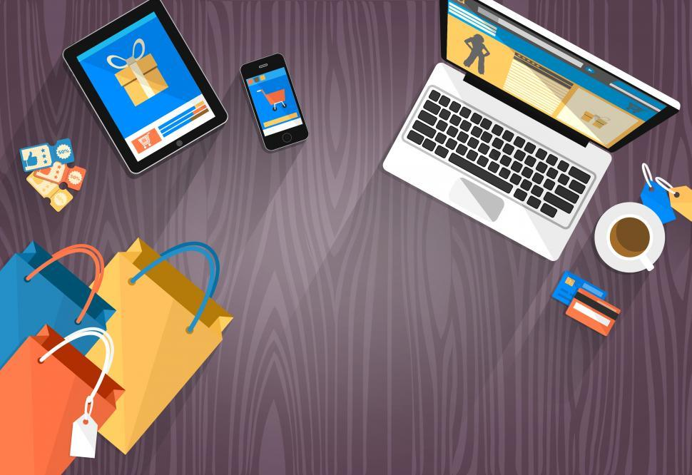 Download Free Stock HD Photo of Online Shopping - Devices and Bags with Copyspace Online