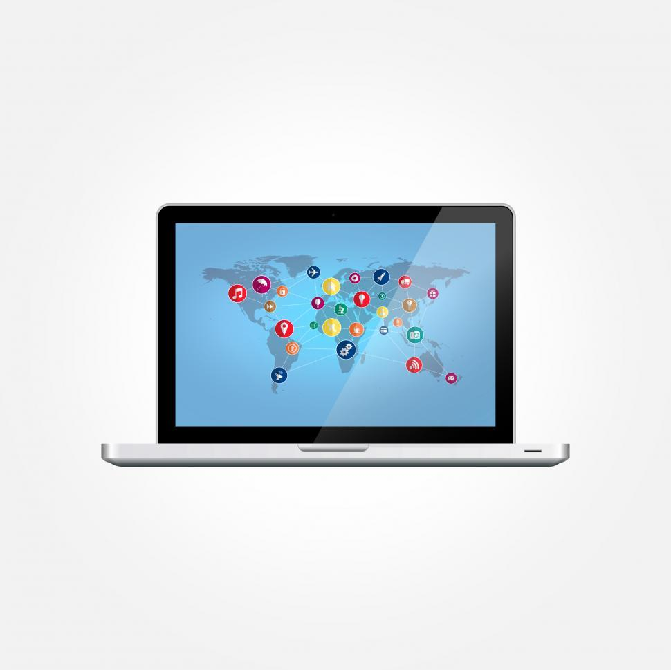 Download Free Stock HD Photo of Laptop with World Map and Technology Icons - IT Concept Online
