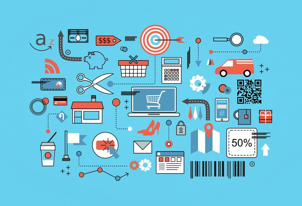 Download Free Stock HD Photo of Online Shopping - Flat Line Style Online