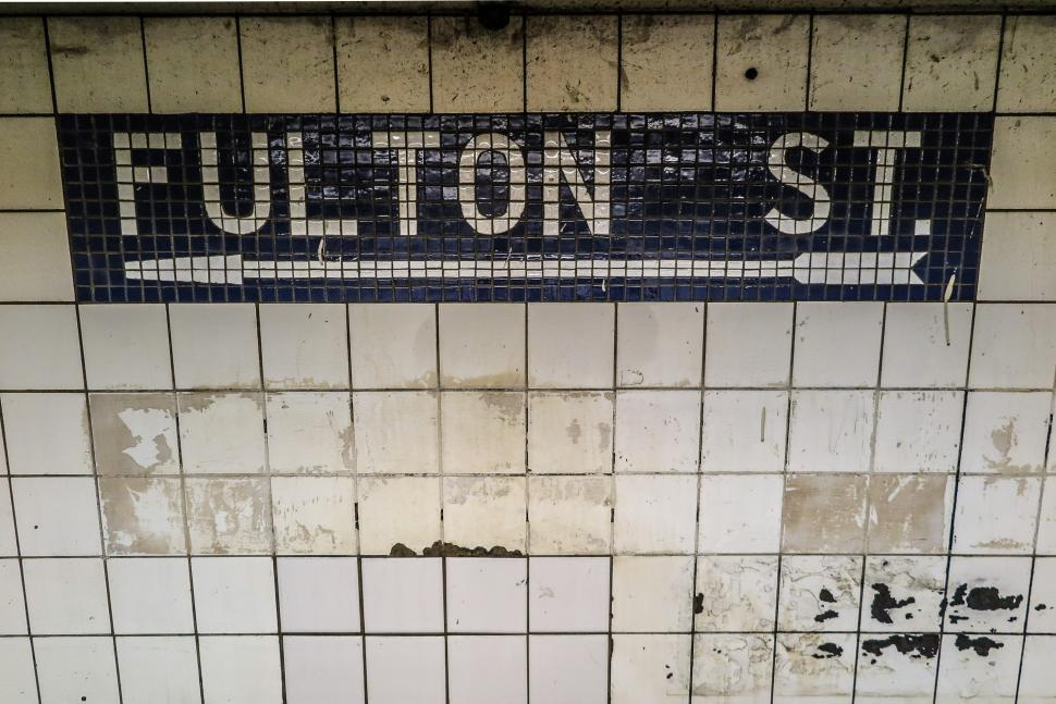 Download Free Stock HD Photo of Fulton Street New York subway sign Online