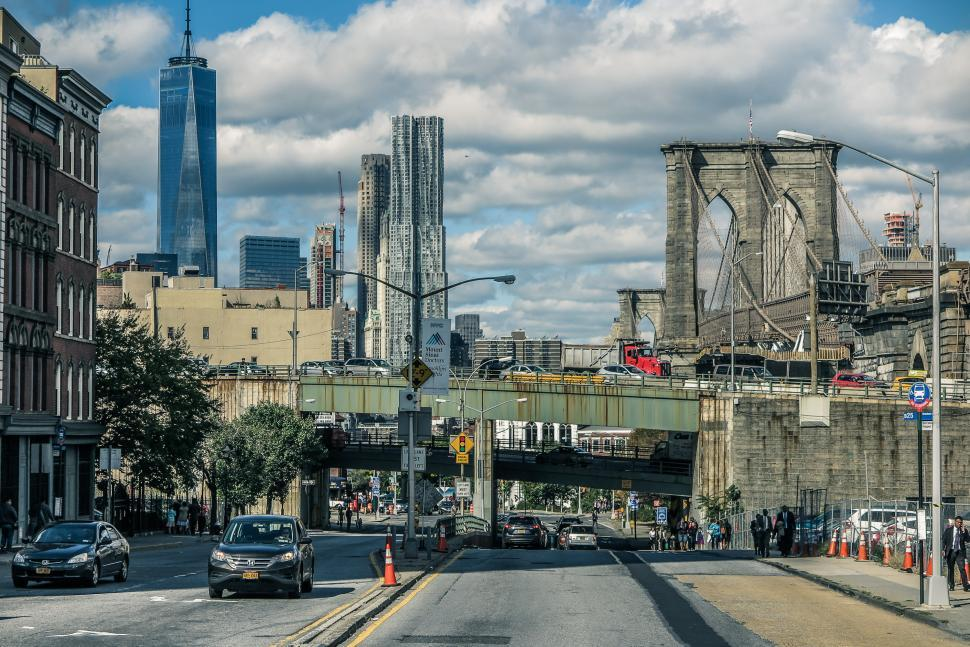 Download Free Stock HD Photo of View of Brookly Bridge and Lower Manhattan Online