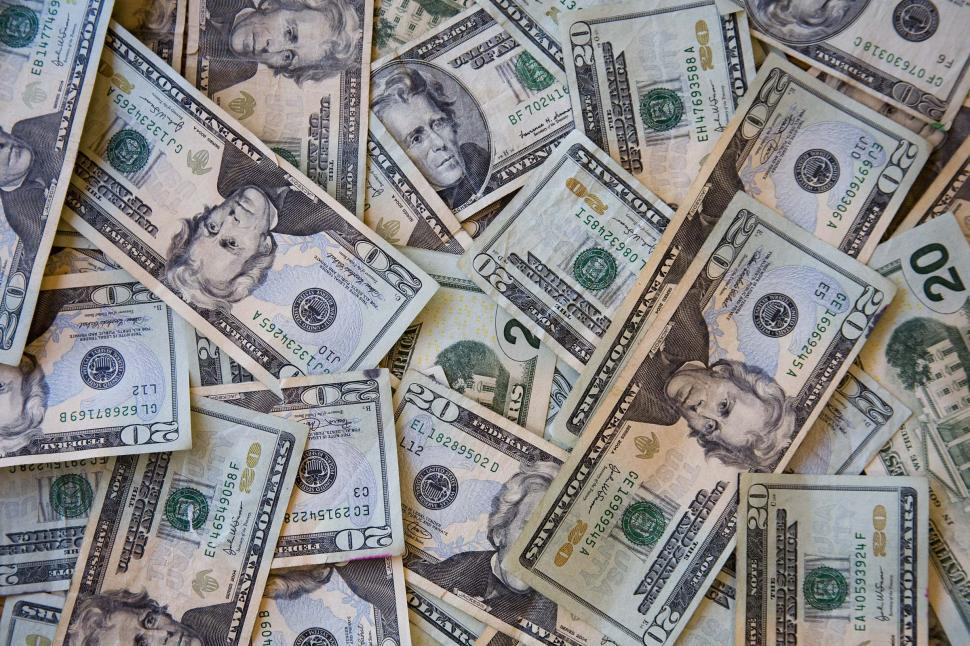 Download Free Stock HD Photo of Piles of twenty dollar bills Online