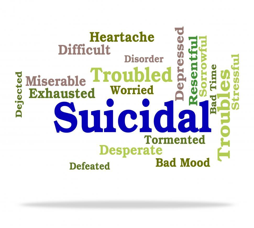 Download Free Stock HD Photo of Suicidal Word Indicates Suicide Crisis And Depressed Online
