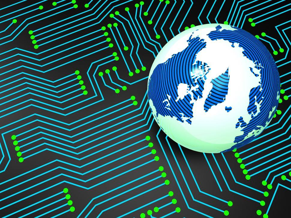 Download Free Stock HD Photo of Circuit Board Shows Globally Worldwide And Electronics Online