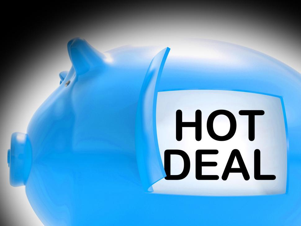 Download Free Stock HD Photo of Hot Deal Piggy Bank Message Means Best Price And Quality Online