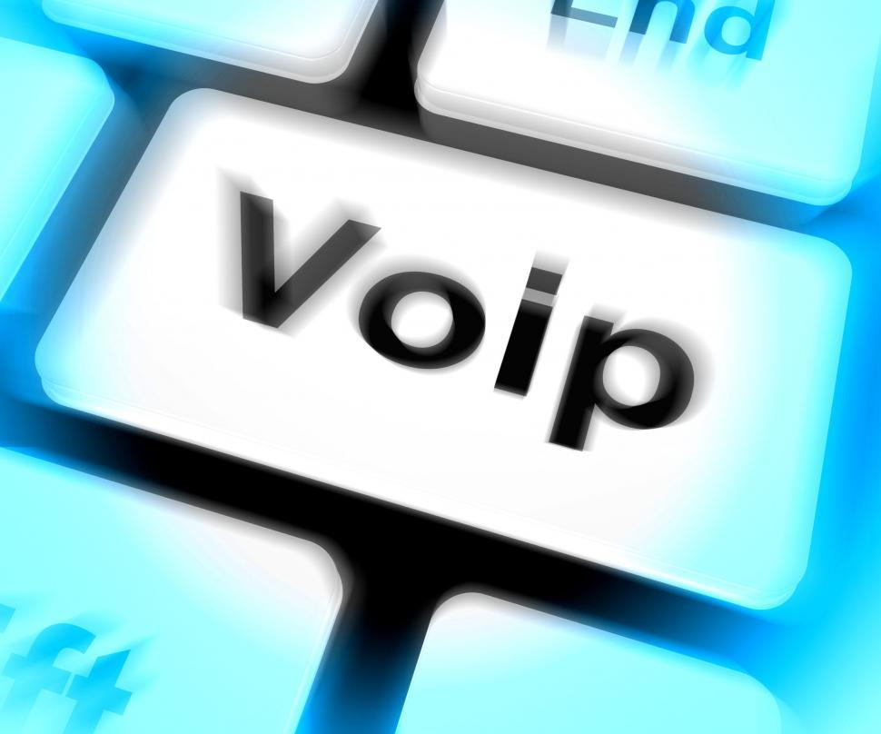 Download Free Stock HD Photo of Voip Keyboard Means Voice Over Internet Protocol Or Broadband Te Online