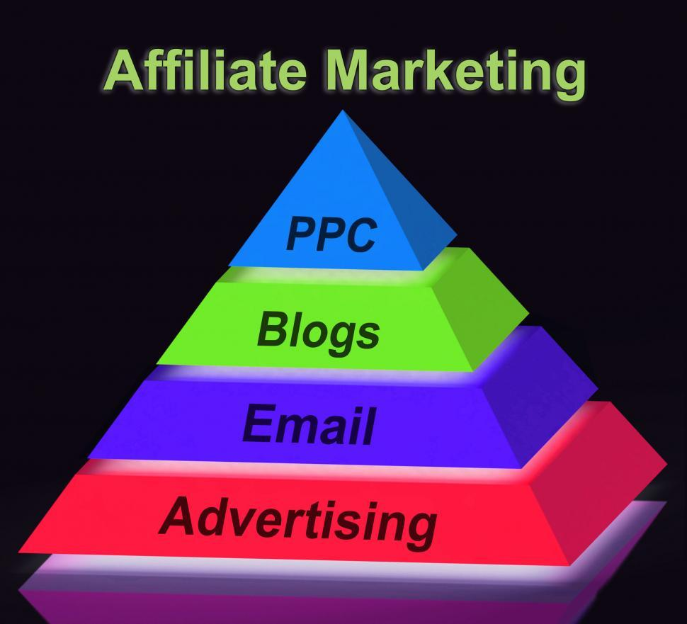Download Free Stock HD Photo of Affiliate Marketing Pyramid Sign Shows Emailing Blogging Adverti Online