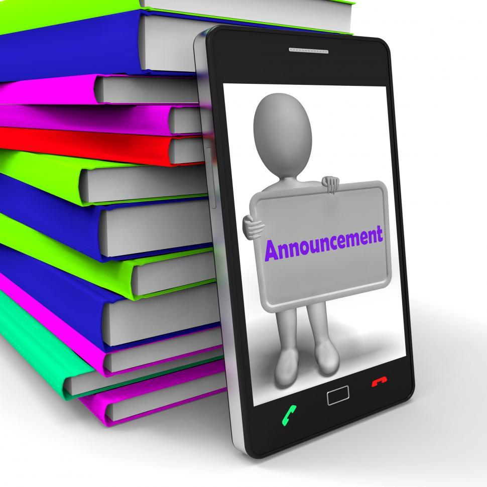 Download Free Stock HD Photo of Announcement Phone Shows Message Notice Or Report Online